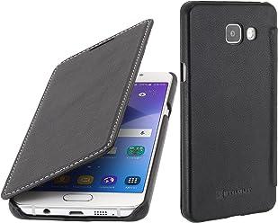 StilGut Book Type Case, custodia in pelle per Samsung Galaxy A5 (2016), Nero nappa