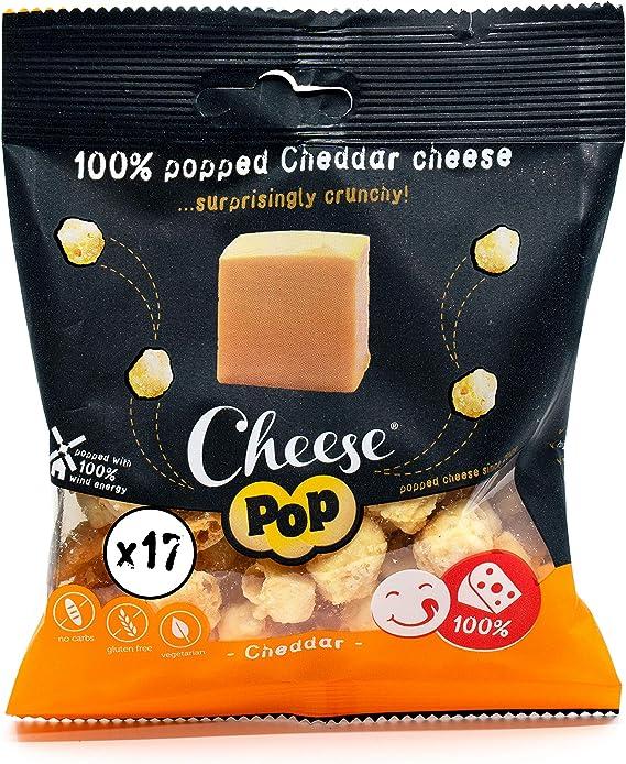 Cheesepop Palomitas de Queso Snack - 100% Queso ...Sorprendentemente Crujiente! Etiqueta Limpia - Natural - Vegetariano - sin Carbohidratos - Ceto - ...