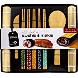 Soeos Beginner Sushi Making Kit, Bamboo Sushi Kit,Included 2 Rolling Mats - 5 Pairs Chopsticks - Paddle - Spreader