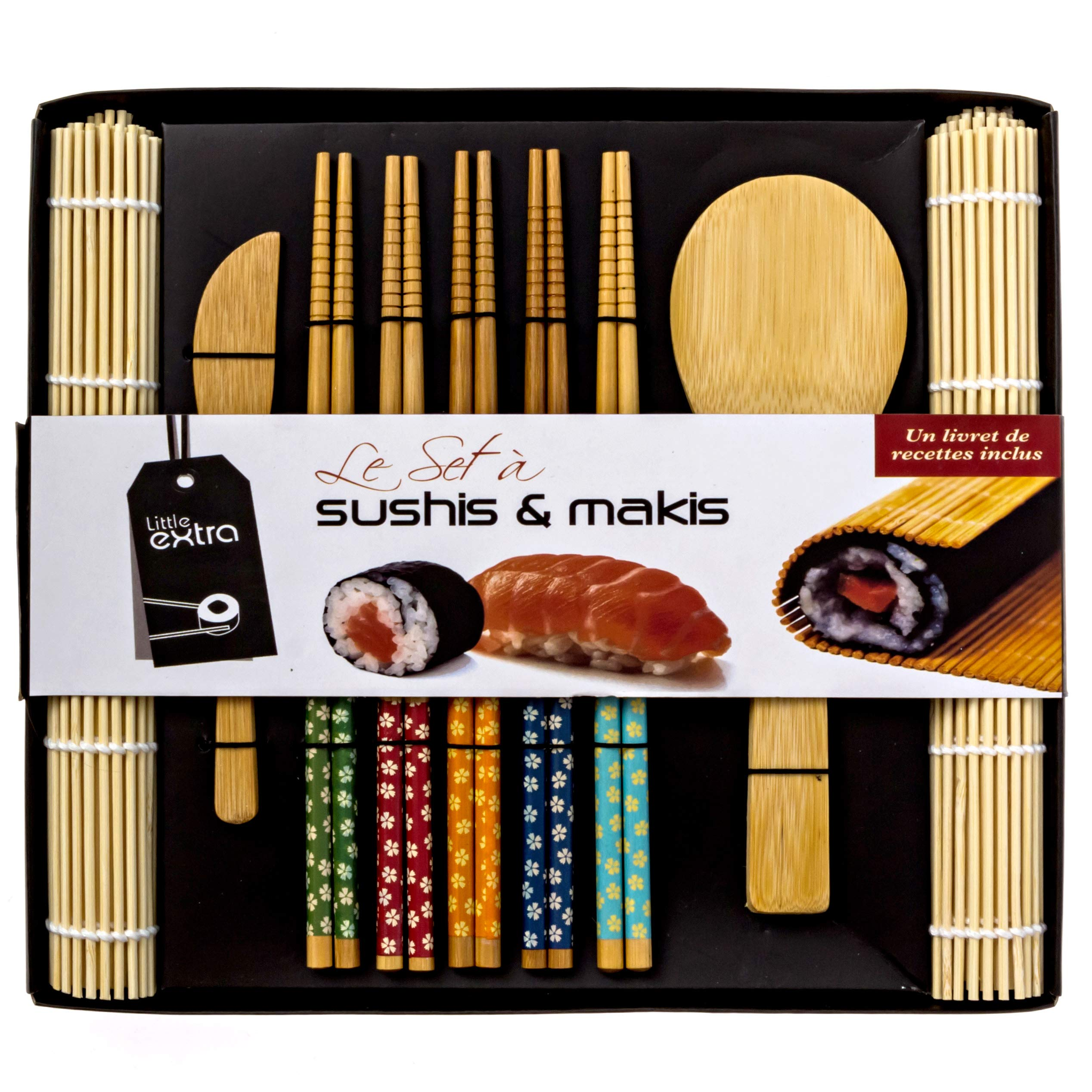 Soeos Beginner Sushi Making Kit, Bamboo Sushi Kit,Included 2 Rolling Mats - 5 Pairs Chopsticks - Paddle - Spreader by Soeos