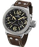 TW Steel Canteen Leather CS34 - Mouvement Quartz - Affichage Chronographe - Bracelet Cuir marron et Cadran Noir - Mixte