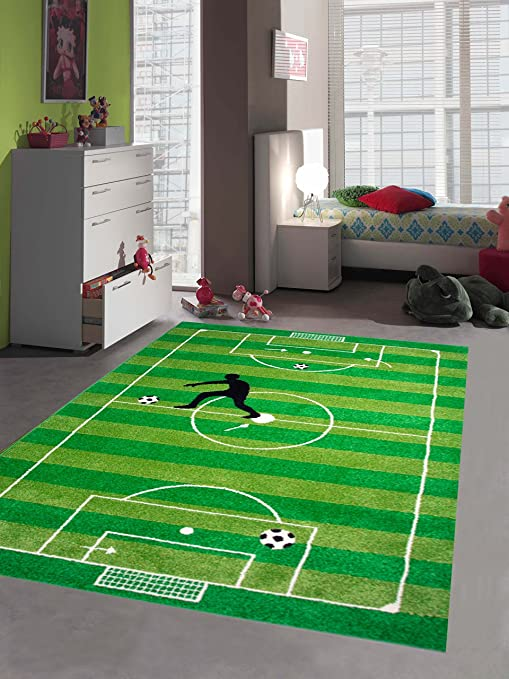 Gr/ö/ße 160x230 cm Traum Kinderteppich Spielteppich Kinderzimmerteppich Fu/ßballteppich in Gr/ün