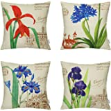 4 Packs Hippih Throw Pillow Cases - Cotton Linen Sofa & Bed Home Decor Design 18 X 18 Inch Cushion Covers , Four Flowers