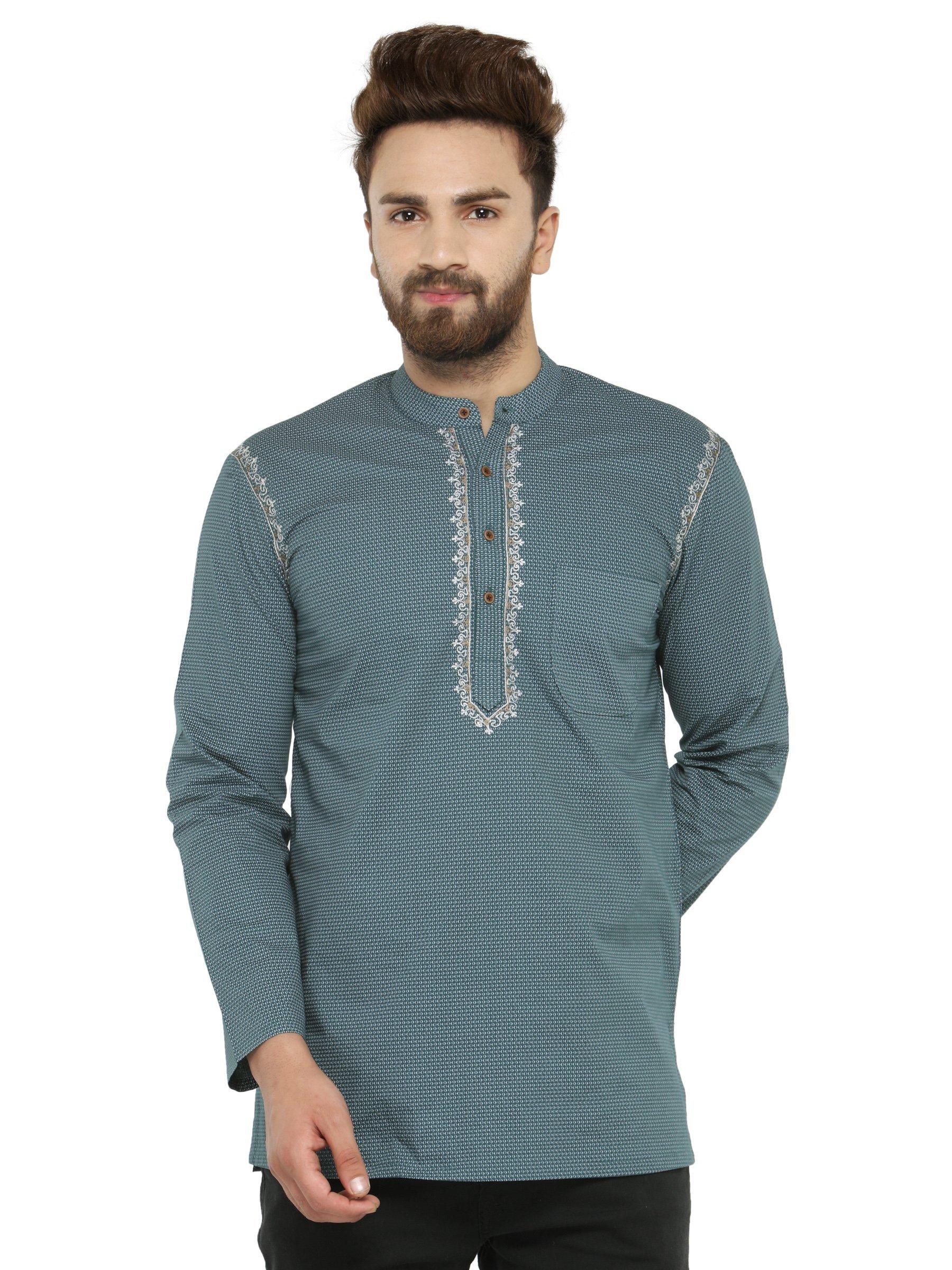 Apparel Men's Cotton Designer Short Kurta Medium Green