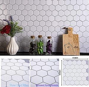 "STIQUICK TILES Peel and Stick Backsplash - for Kitchen Decorative Tiles (10 Sheets) (10"" X 10"" 10 Sheets, Honeycomb White)"