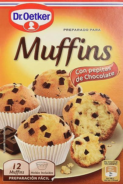 Dr. Oetker - Muffins, Preparado en Polvo para Hacer Muffins con Pepitas de Chocholate, 370 g: Amazon.es: Alimentación y bebidas
