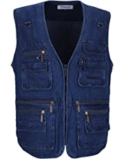 LUSI MADAM Men's Denim Vest Multi-Pockets Leisure Outdoor Fishing Vest Sleeveless Jacket,Blue