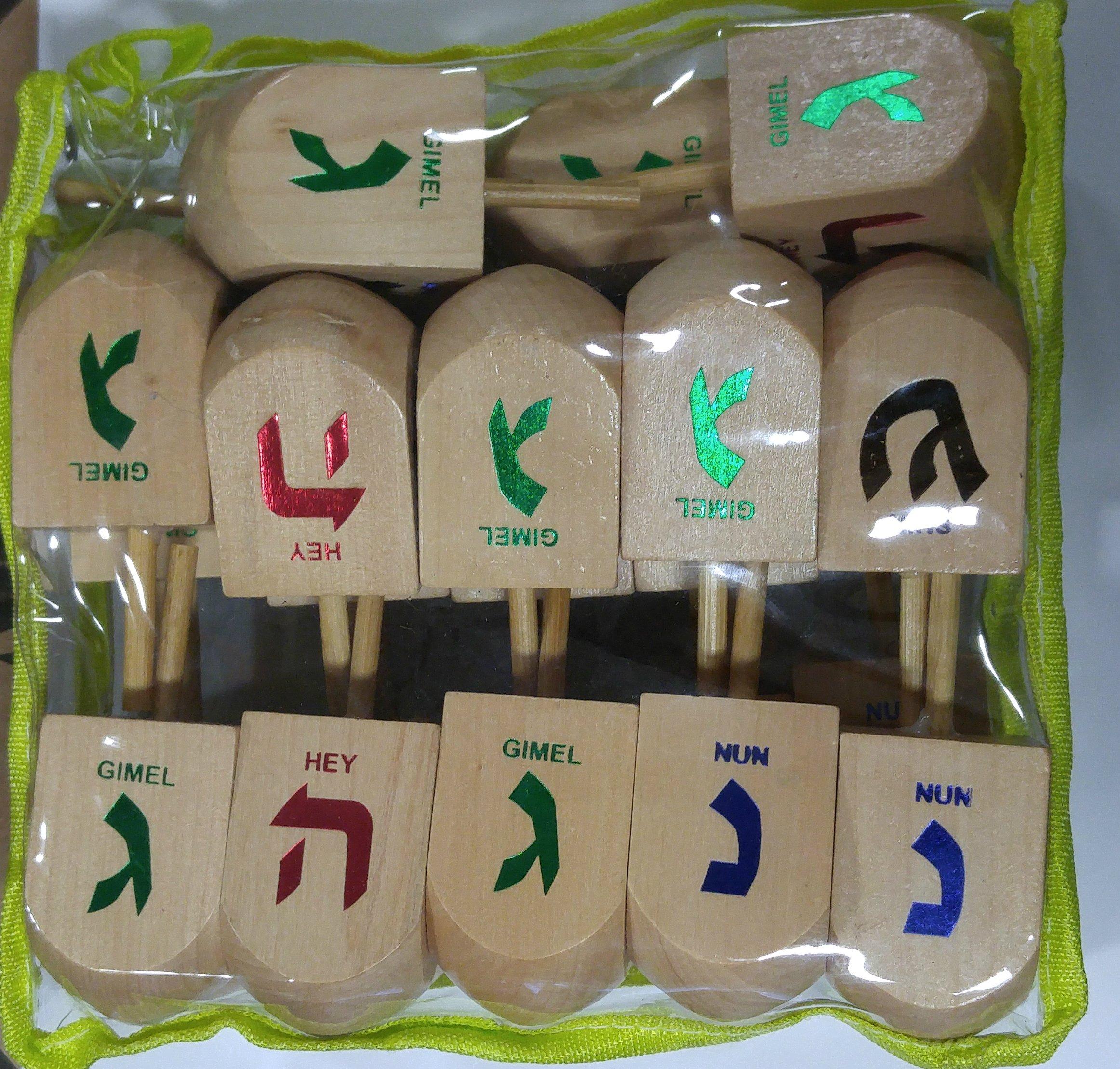 Jerusalem Dreidel Wood Dreidels Large Sized With English translation in Bulk Pack of 24 Pieces in Zippered Bag