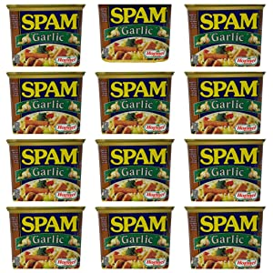 Hormel Foods Garlic Spam - 12 oz Per Can - Fully Cooked Ready to Eat Cold or Hot - Choose a 4 Pack, 6 Pack, or 12 Pack (12 Pack)