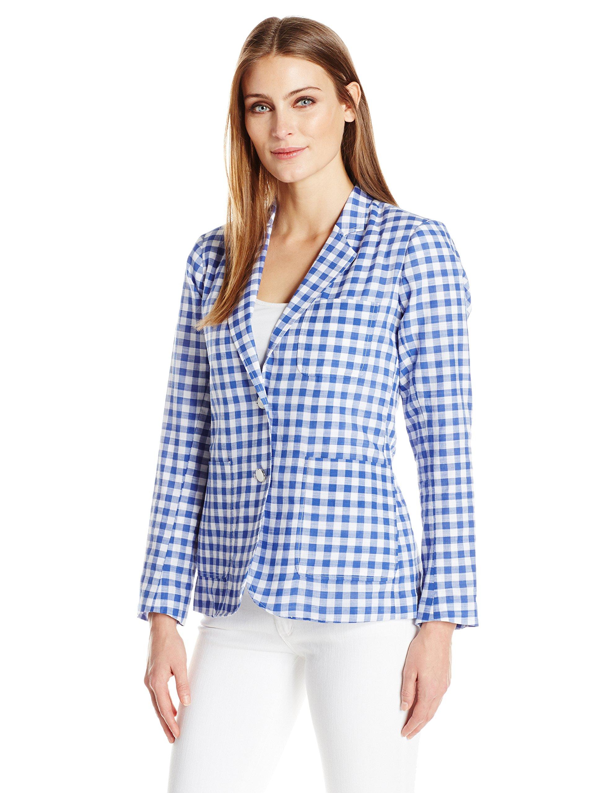 Foxcroft Women's Long Sleeve Demi Gingham Blazer, Blue Lagoon, 14