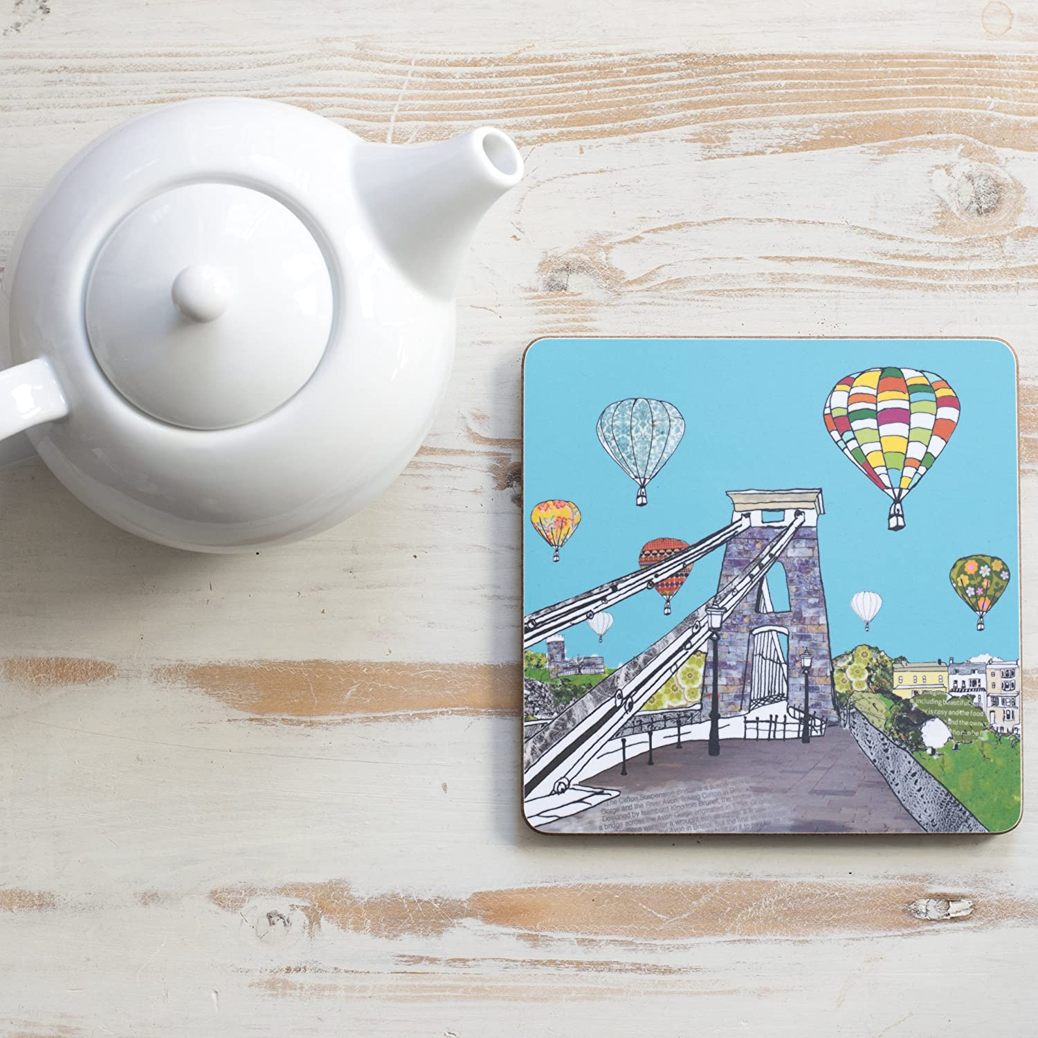 Balloons Over The Toll Bridge Square Teapot Stand Emmeline Simpson