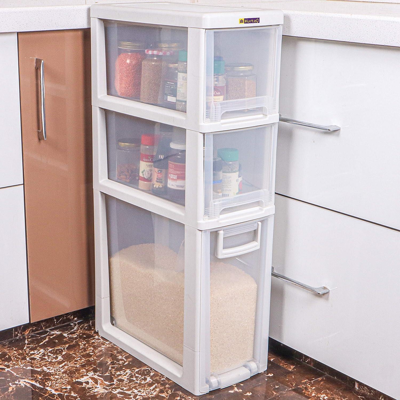 Kurtzy Storage Organizer Drawer Rack With Wheel White 3 Layer 64 6 X 50 X 48 8 Cm Amazon In Home Kitchen