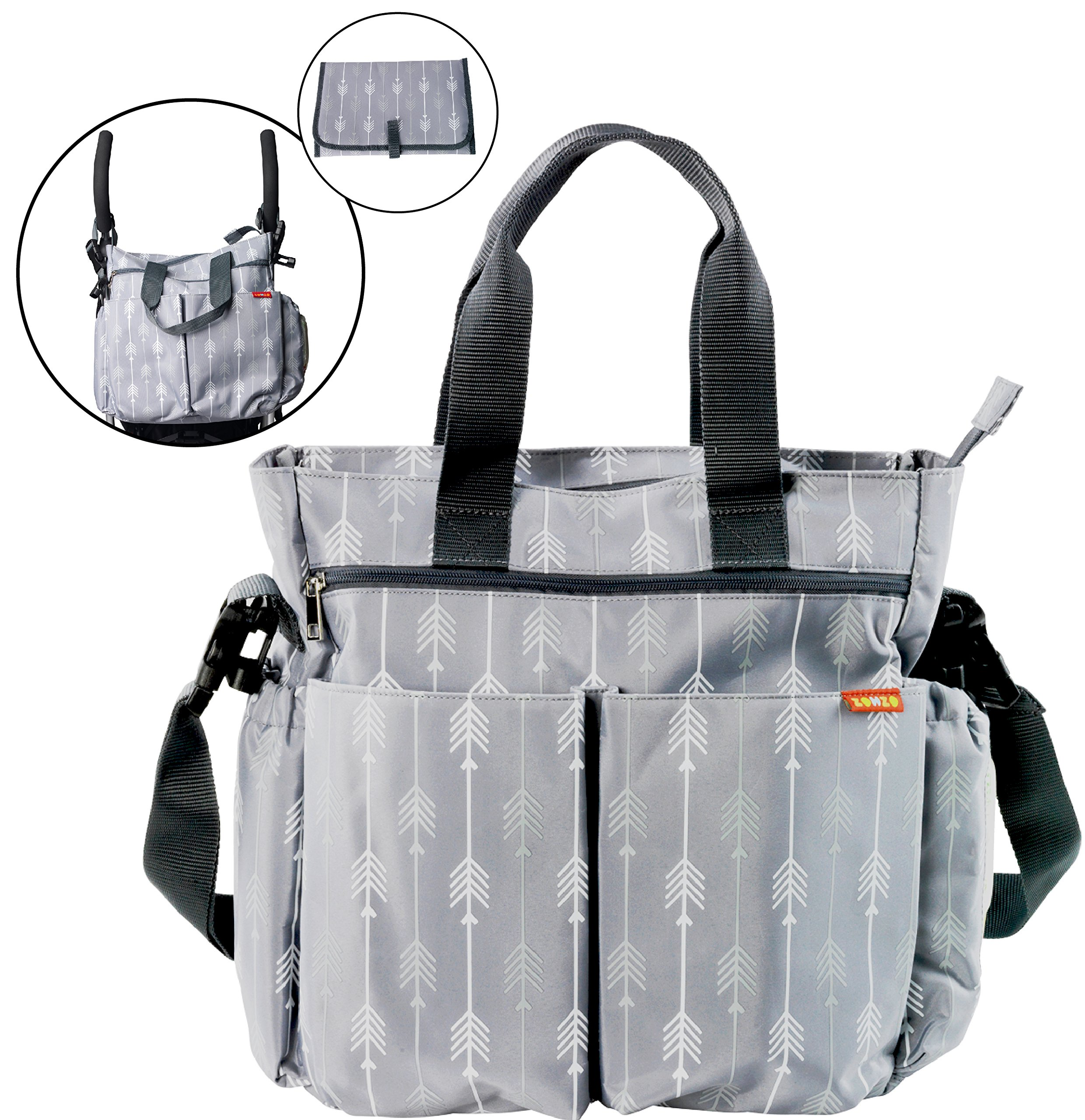 Diaper Bag for Baby by Zohzo - Diaper Tote Bag with Changing Pad, Insulated Pockets, Wipes Pocket, Waterproof Material, Stroller Straps, and Shoulder Strap by Zohzo