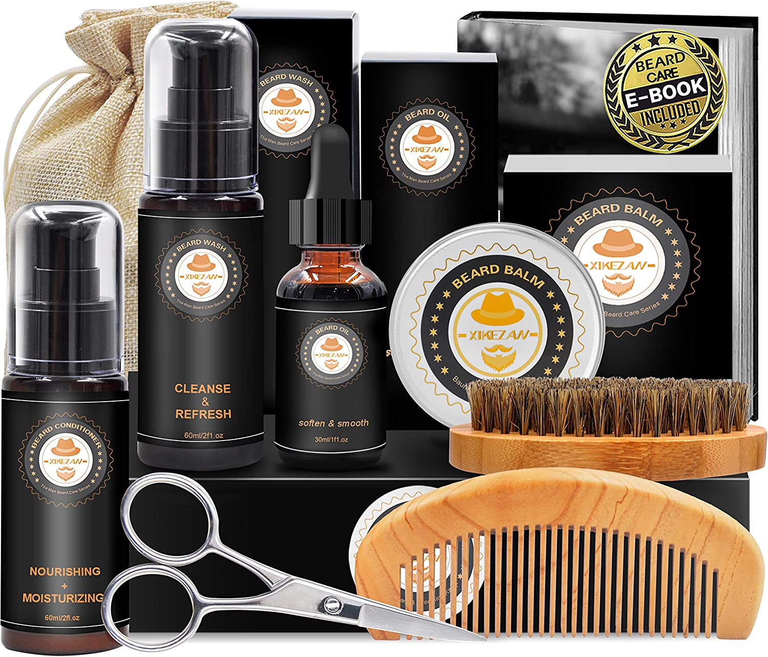 Upgraded Beard Grooming Kit w/Beard Baubles,Beard Shaper,Beard Growth Oil,Beard Balm,Beard Shampoo/Wash,Beard Brush,Beard Comb,Beard Scissors,Storage Bag,E-Book,Beard Care Grooming Daddy Gifts for Men