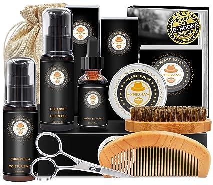 Amazon Com Upgraded Beard Grooming Kit W Beard Conditioner Beard Oil Beard Balm Beard Brush Beard Shampoo Wash Beard Comb Beard Scissors Storage Bag Beard E Book Beard Growth Care Gifts For Men Beauty