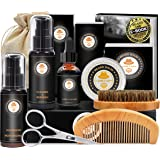 Upgraded Beard Grooming Kit w/Beard Conditioner,Beard Oil,Beard Balm,Beard Brush,Beard Shampoo/Wash,Beard Comb,Beard Scissors
