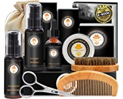 Upgraded Beard Grooming Kit w/Beard Conditioner,Beard Oil,Beard Balm,Beard Brush,Beard Shampoo/Wash,Beard Comb,Beard Scissors
