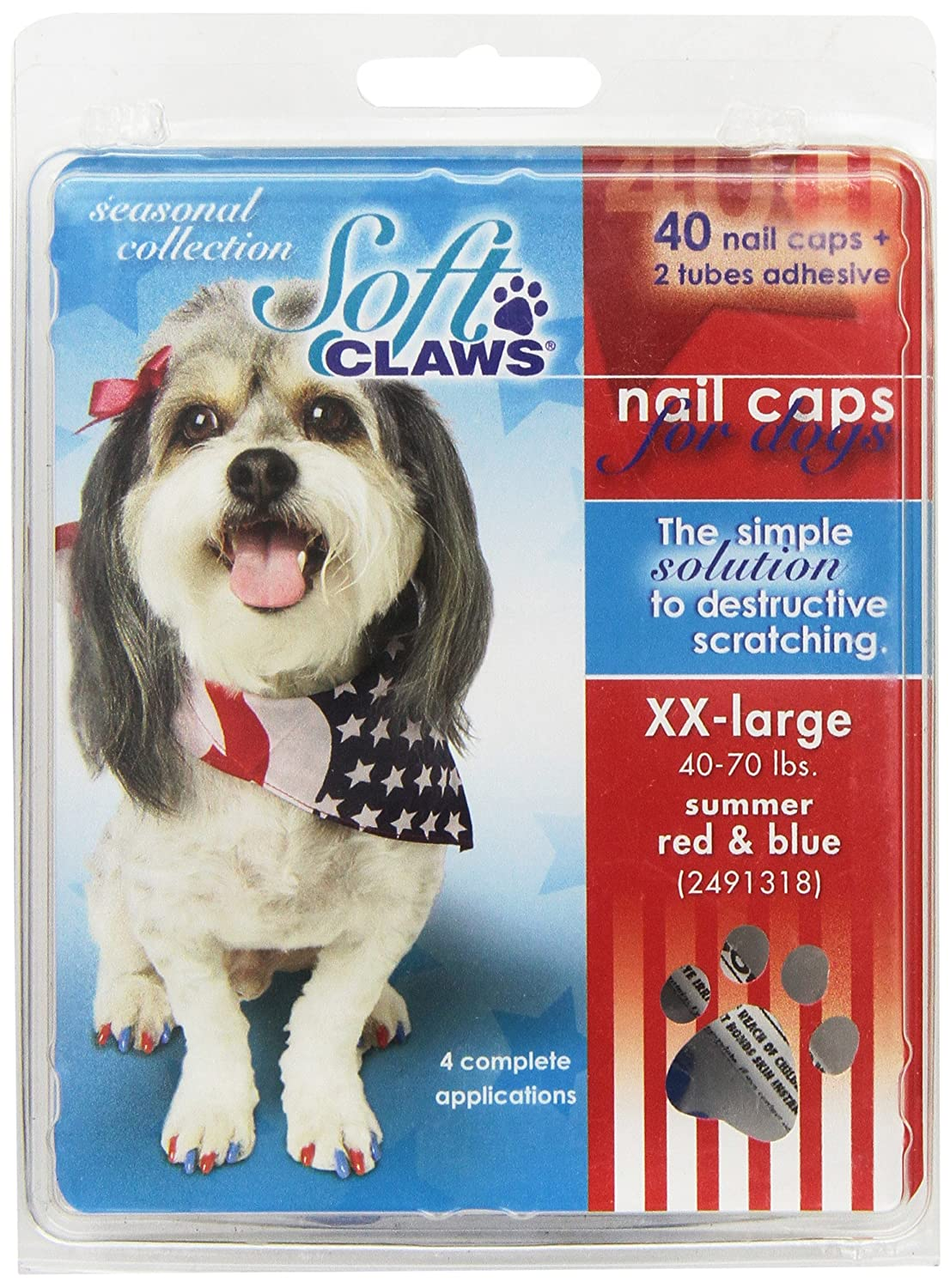 Red, bluee XX-large Red, bluee XX-large Soft Claws Canine Soft Claw Summer Pack, XX-Large