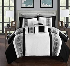 Chic Home 8 Clayton Pintuck Pieced Color Block Embroidery Twin Bed in a Bag Comforter White with Sheet Set