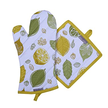 Pot Holders and Oven Mitts, Unique Citrus Splash Design, Heat Resistant, Made of 100% Cotton, Eco-Friendly & Safe, Set of 1 Oven Mitt and 1 Pot Holder, Pot Holders and Oven Mitts Sets By CASA DECORS