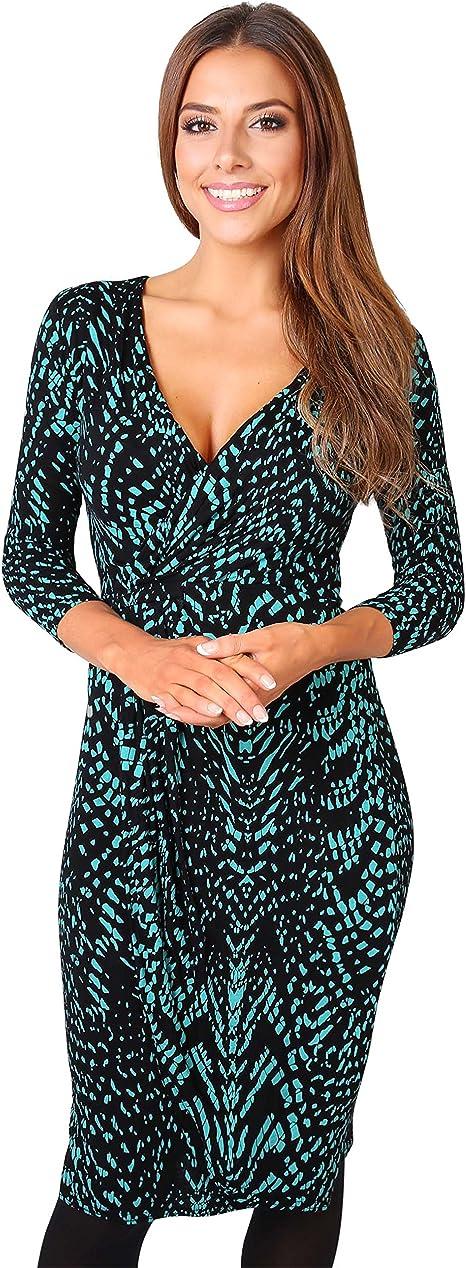 TALLA 46. KRISP Vestido Mujer Ajustado Fiesta Invitada Boda Outlet Corto Colores Tallas Grandes Noche Elegante Cóctel Verde Azulado/Negro (6609) 46
