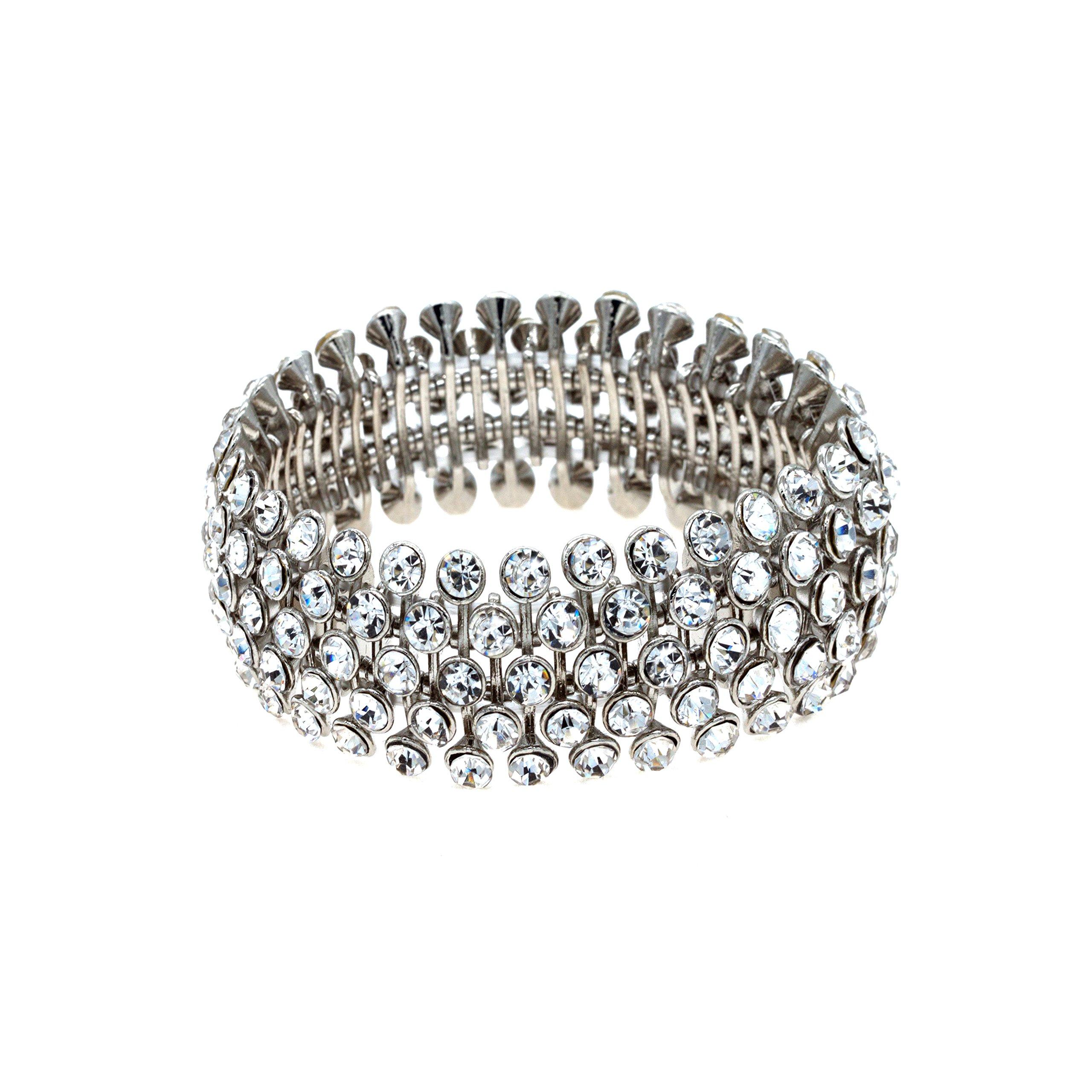 Lavencious Tennis 5 Row Rhinestone Stretch Bracelets Bridal Evening Party Jewelry For Woman Bangle (Silver)