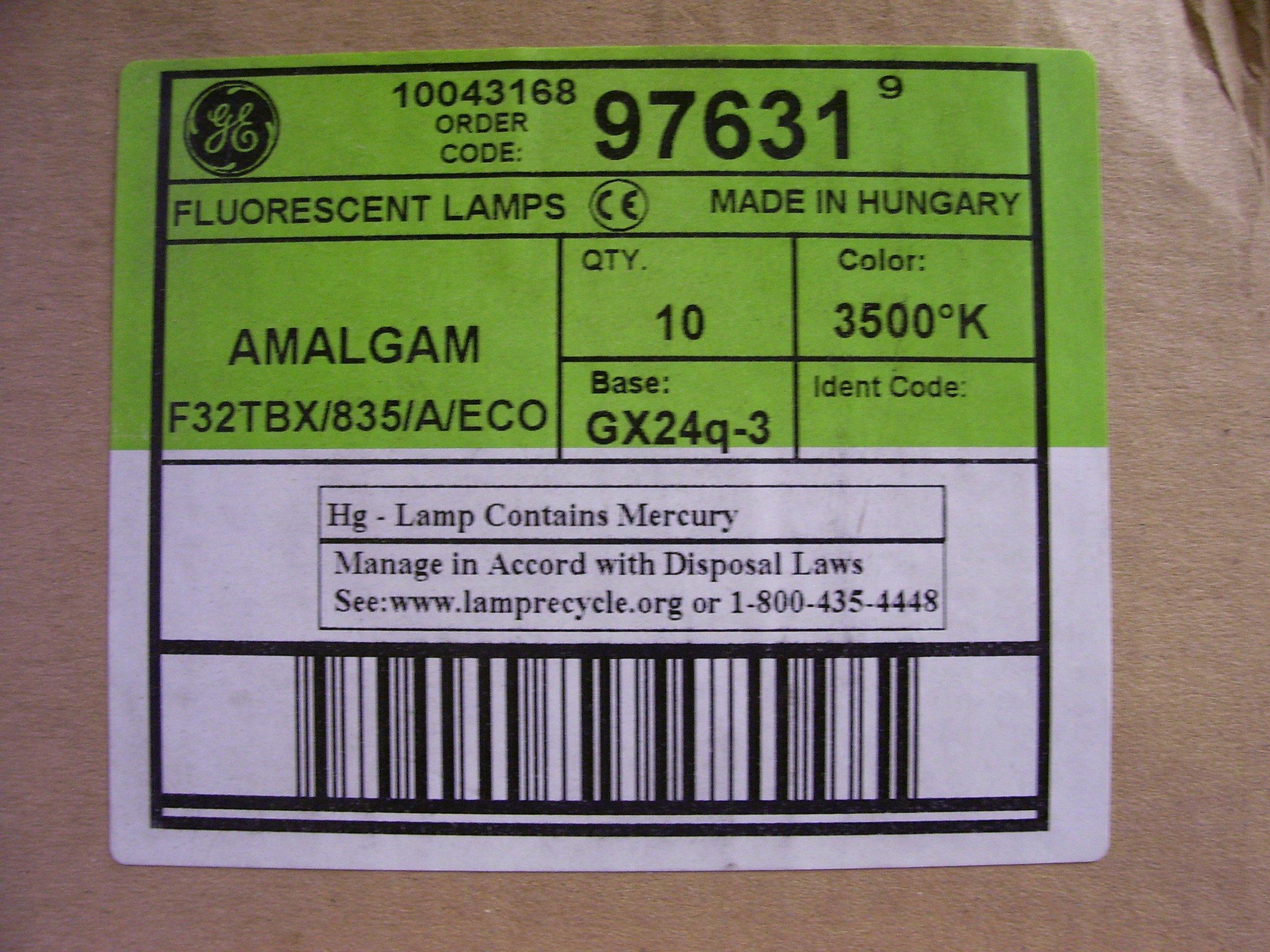 10pc GE 97631 - F32TBX/835/A/ECO 32-Watt 2400-Lumen General Purpose Ecolux T4 CFL Bulb, White (Lot of 10)