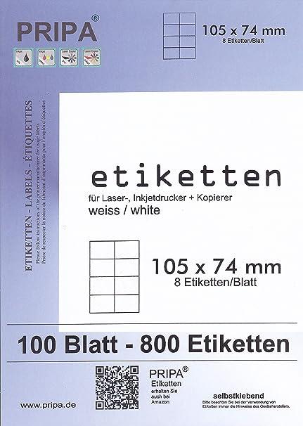 200 Blatt DIN A4 Selbstklebende Etiketten 400 Etiketten pripa Etikettenformat 210 x 148 mm