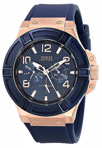 guess men s u0247g3 blue silicone analog quartz watch guess guess men s u0247g3 blue silicone analog quartz watch guess amazon ca watches