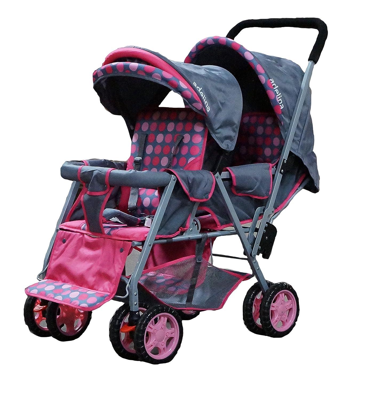 amazoncom  adelina designer double stroller pink  baby -
