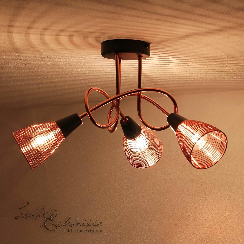Deckenleuchte in Kupfer Schwarz 3x E14 bis 40 Watt 230V Deckenlampe aus Metall für Wohnzimmer Schlafzimmer Flur Küche Lampen Leuchte innen Beleuchtung