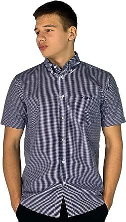 Pierre Cardin Hombre Camisa EN Cuadros de Manga Corta con Bordado de Firma