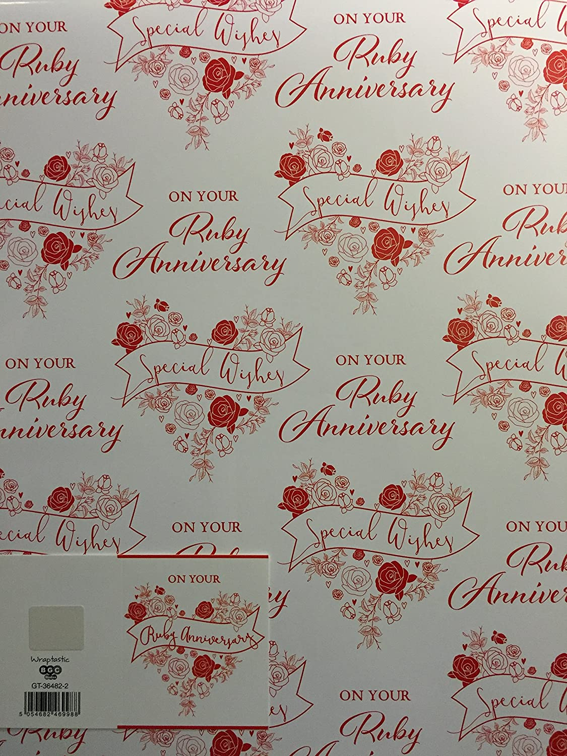 40TH RUBY WEDDING ANNIVERSARY WHITE//RED ROSE WRAPPING PAPER 2SHEETS+1 GIFT TAG