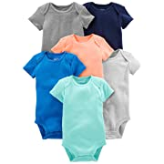Simple Joys by Carter's Baby Boys' 6-Pack Short-Sleeve Bodysuit, Solid, 0-3 Months