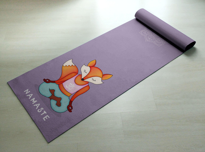 Namaste Orange & Purple Fox Yoga Mat - Practice Yoga In Style [Gift Idea / Fun Present] Exercise Mat / Cute Animal Yoga Mat