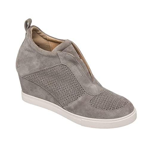 d60a305379b78 Pic & Pay - Zaven - Slip-On Fashion Sneaker Wedges in Laser Cut Suede