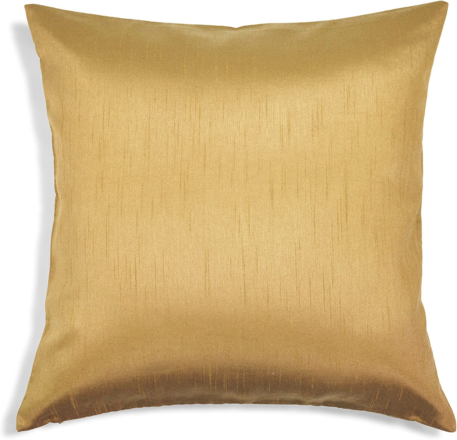 Aiking Home Solid Faux Silk Euro Sham Pillow Cover Zipper Closure 24 By 24 Inches Brass Home Kitchen