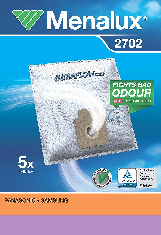 Menalux 2702 - Pack de 5 bolsas sintéticas y 1 filtro para aspiradoras Panasonic y Samsung: Amazon.es: Hogar