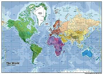Carte Du Monde Geographie.Papier Plastifie A1 Carte Du Monde Geographie Naturelle Et