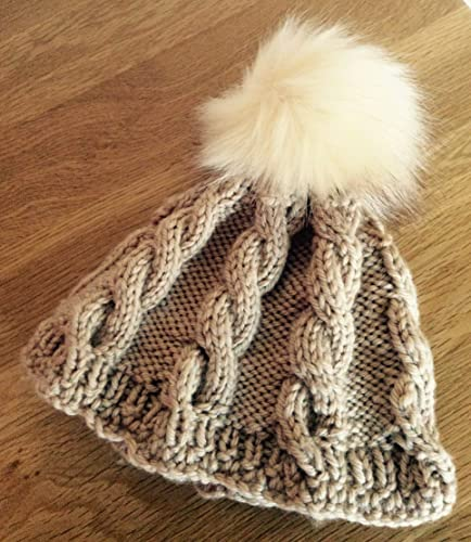 Image Unavailable. Image not available for. Colour  Beige hand knitted baby  beanie ... 1bce84d3b6a