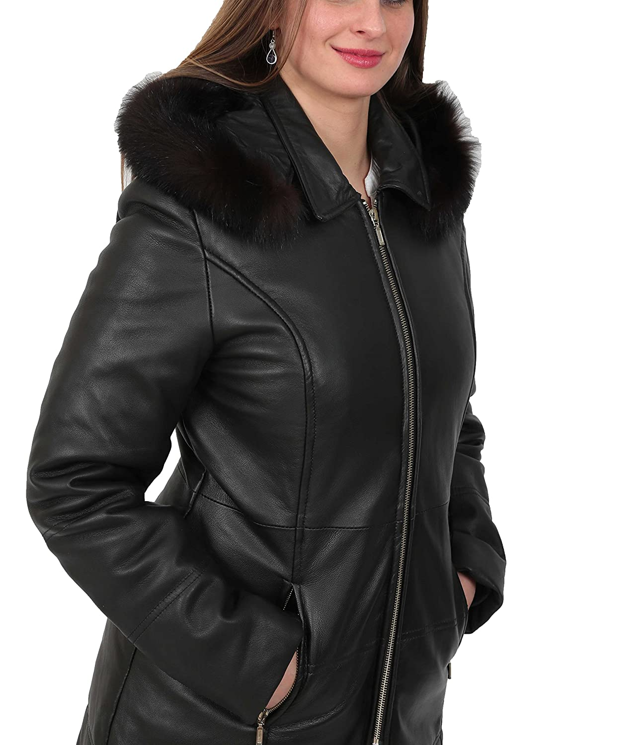 online sale professional sale top-rated cheap Ladies Soft Leather Puffer Coat 3/4 Length Padded Fitted Hooded Parka Lisa  Black