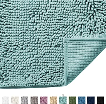 Microfiber Bath Rugs Chenille Floor Mat Ultra Soft Washable Bathro Duck Egg BLUE