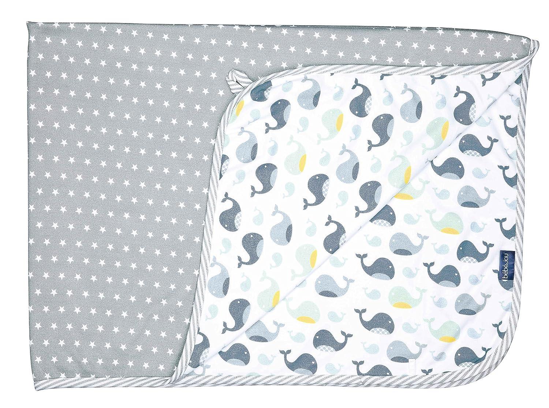 bébé-jou 3031102 Baby Multi-Tuch Wally Whale, 100 x 75 cm, weiß weiß