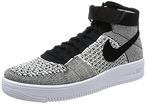 Nike Af1 Ultra Flyknit Mid Mens Trainers 817420 Sneakers Shoes (UK 6 US 7 EU 40, Black White 005)