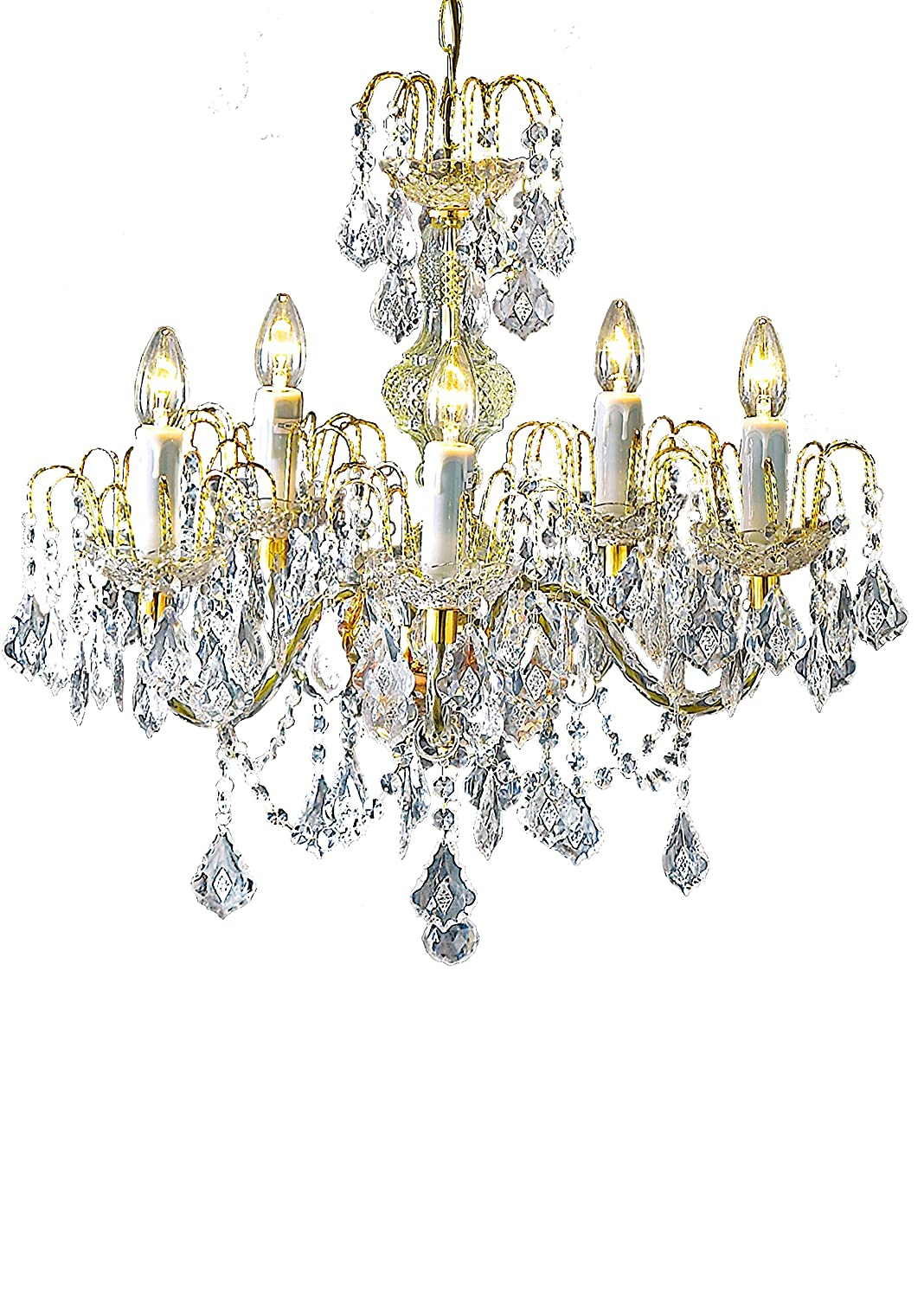 5 Light Deluxe Marie Therese Crystal and Gold Effect Chandelier Loxton