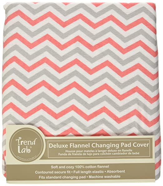 Amazon.com: Trend Lab Chevron Deluxe Flannel Changing Pad Cover, Coral and Gray: Baby