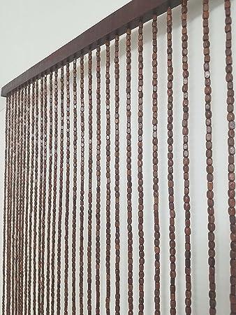 Amazon De Luance Kleiderstange 92 Vorhang Braun Holzperlen 90 X 220 Cm