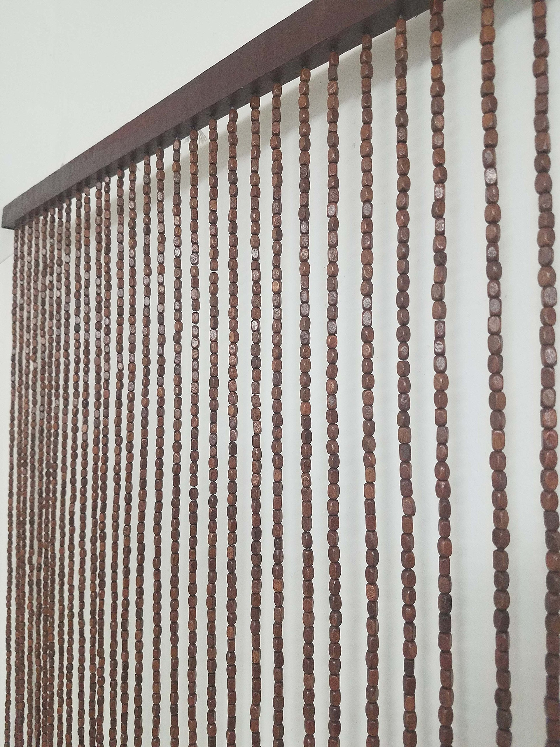 EVIDECO 5500004 Wooden Beaded Curtain Doorway, 41 Strings 78.8'' H x 35.5'' W, Natural