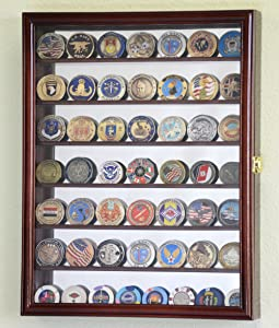 Mirrored Back Military Challenge Coin Display Case Cabinet Holders Rack w/UV Protection (Cherry Finished)