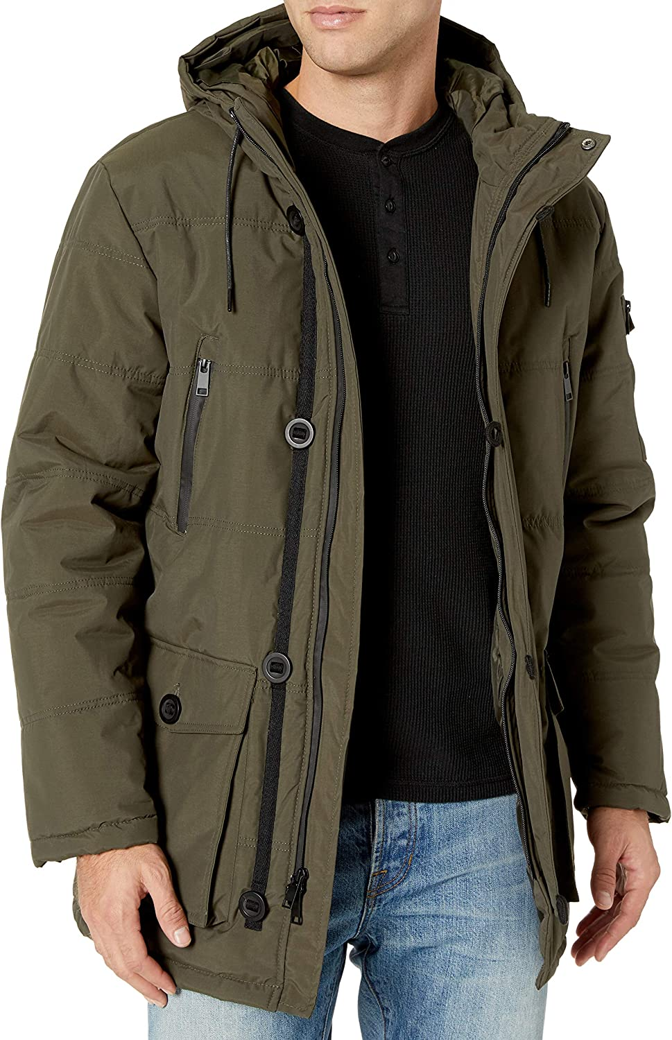 Cole Haan Mens Oxford Faux Down Puffer Coat